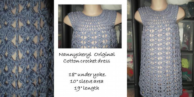 HANDMADE COTTON CROCHET DRESS     ID 971 (box 22)