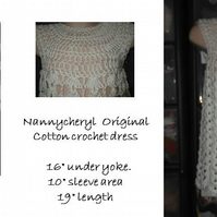 HANDMADE White Lace look cotton Crochet Dress    968 cjh20