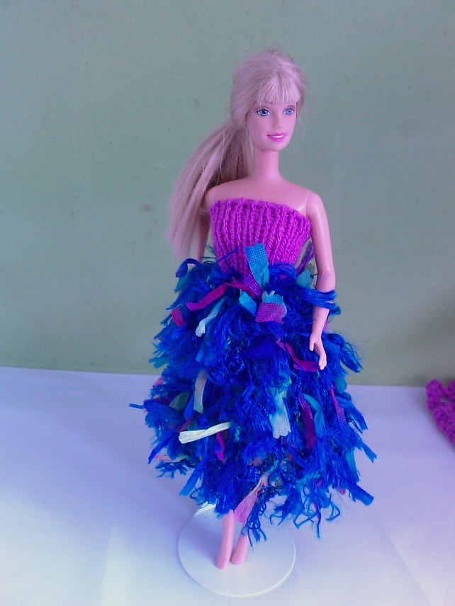 Handmade  Mauve knitted top with fun fur blue skirt multicoloured 760 cjh27