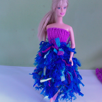 Handmade  Mauve knitted top with fun fur blue skirt multicoloured 760 cjh S24
