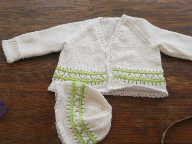 WHITE AND SPRING GREEN KNITTED CARDIGAN AND HAT SET   ID NC103N