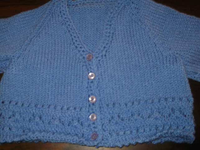 BLUE LAVENDER KNITTED CARDIGAN handmade by nannycheryloriginals   944 cjh S39