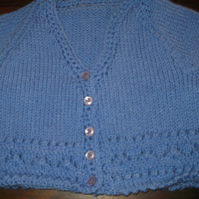BLUE LAVENDER KNITTED CARDIGAN handmade by nanny cheryl originals   I944 cjh20