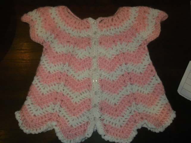 PINK AND WHITE BABY CROCHET ANGEL TOP OR CARDIGAN   ID NC67N
