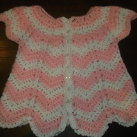 PINK AND WHITE BABY CROCHET ANGEL TOP OR CARDIGAN   943 cjh S28