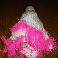 HANDMADE Crochet premature baby doll pink white shawl with pink frill  832 cjh25