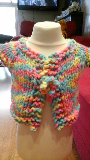 "HANDMADE Pretty multi colour chunky Knitted Cardigans  chest 20""   1016 cjh24"