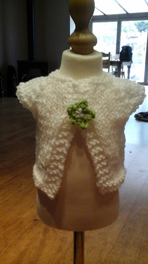 HANDMADE Knitted white premature Cardigans  by nannychery loriginals 1015  cjh20