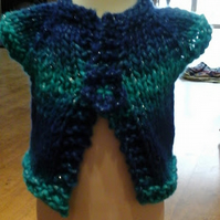 "HANDMADE Knitted multi colour blues sparkly Cardigans chest 16""     1014 cjh22"