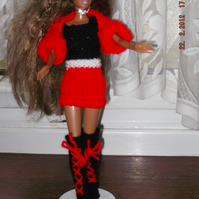 Handmade,red mini,long boots,shrug,Barbie, (nannycheryloriginal) 1022 cjh S21