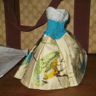 Handmade  dress in 50's style with blue top sparkly flower skirt 1319 cjhk1
