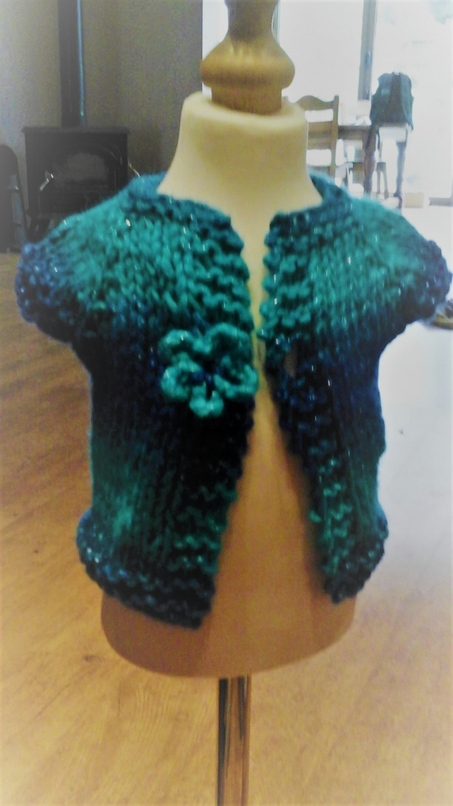 HANDMADE Knitted sparkly blues Cardigans  premature baby to toddler  1013 cjh20