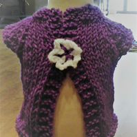 HANDMADE Knitted Sparkly Purple Cardigans - prem baby to toddler   1012 cjh20