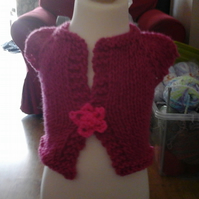 Deep pink premature baby cardigan with flower to secure  1034  cjh22