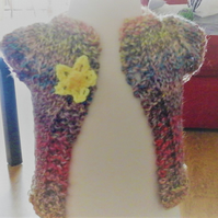Handmade Multi colour knitted cardigan with flower fastener  1032 cjh22