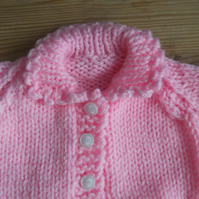 "Chunky Pink Knitted Cardigan Chest 18"" for baby  Handmade  961 cjh22"