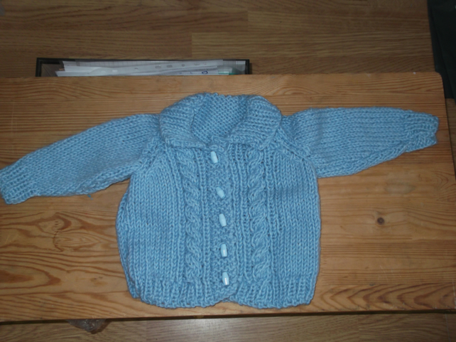 Handmade Chunky Fluffy yarn Cardigan with hat for baby  964 cjh S16