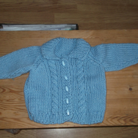 Handmade Chunky Fluffy yarn Cardigan with hat for baby  964 cjh22
