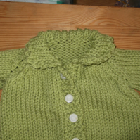 "Chunky Cardigan in Green with collar and crochet trim Chest 18""     960 cjh22"