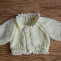 Lovely lemon knitted premature baby cardigan with collar crochet trim  963 cjh22