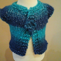 "Chunky cardigan in blues sparkly yarn with flower to secure Chest 18"" 1017 cjh22"