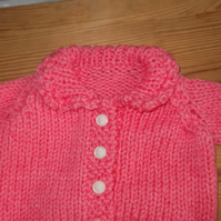 Handmade chunky knitted pink cardigan with collar and crochet trim  965 cjh22