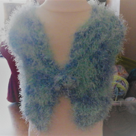 "Fun Fur knitted cardigan, delicate light Chest size 16"" very pretty 1028 cjh S16"