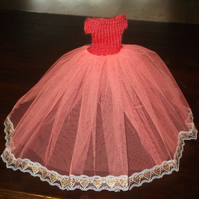 Handmade Ballgown outfit of coral for Barbie  1233 cjhk1