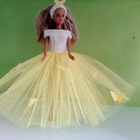 Handmade Ballgown, yellow and butterflies (nannycheryloriginals) 762 cjh S22