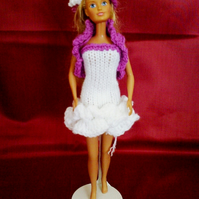 white and mauve ra ra dress, bolero,hat handmade   715 cjh27
