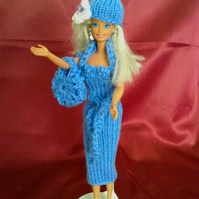Handmade blue tube dress,hat,bolero,bag,knitted,crochet   729 cjh s9