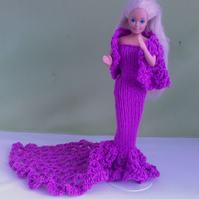 Handmade knitted dress in mauve with crochet trail pretty, shawl  759 cjh S25