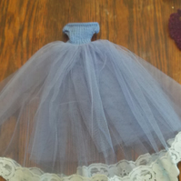 Barbie Doll handmade ballgown in electric blue and flower trim    1092 cjh S22