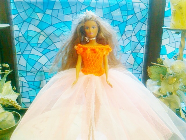 Orange knitted top with beads Dress netting skirt pretty,   908 cjh27