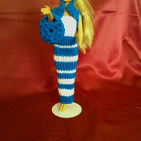 Handmade knitted tube dress blue striped,bag,hat,bolero   NO DOLL   730 cjh S24