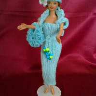 Mint colour tube dress with bolero,bag,hat, for barbie doll   726 cjh27  NO DOLL