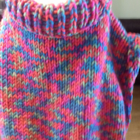 Pullover Poncho design in Multicoloured chunky yarn for child  1056 cjh28
