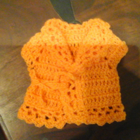 "Crochet Cardigan handmade for premature baby or 18"" doll   10"" chest 1065  cjh"