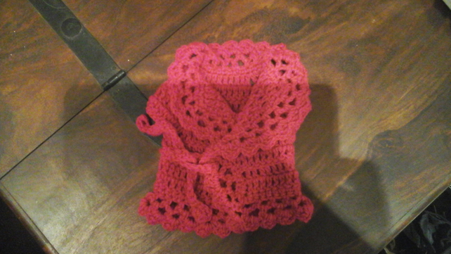 Pretty handmade lacy style cardigan for premature baby or doll    1066  cjh