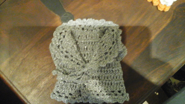 New handmade silver glitter premature crochet baby cardigan or doll  1068 cjh36