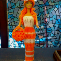 Handmade knitted outfit tube dress,bolero,bag,hat, barbie doll, 718 cjh38
