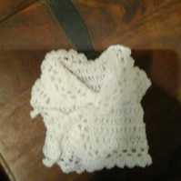 "Handmade premature baby or 18"" doll crochet white cardigan lacy look  1069 cjh36"