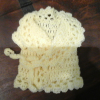 Rich lemon crochet cardigan with tie secure for premature baby, doll  1078 cjh36