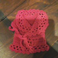 "deep pink crochet cardigan  our generation 18"" doll or premature baby 1075 cjh36"