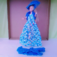 Barbie doll outfit, handmade crochet dress,jacket,bolero,hat,  849 cjh38