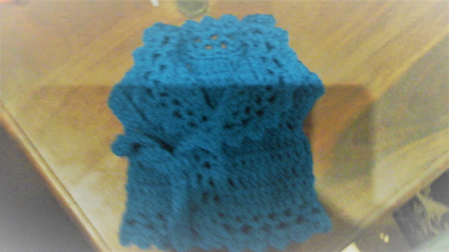 turquoise blue crochet cardigan doll or premature baby front ties   1076 cjh39