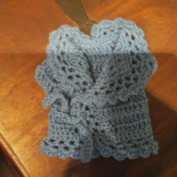 Handmade blue crochet cardigan front ties for Doll  premature baby  10679 cjh36