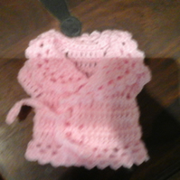 Pink crochet cardigan tie fronts doll our generation premature baby 1073cjh39