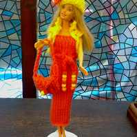 Deep orange dress,bag,yellow hat,bolero set for Barbie doll  handmade  721 cjh38