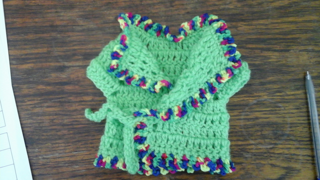 Green crochet cardigan pretty trim,tie front, premature baby, doll 1080  cjhS15